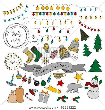 Design elements with garlands, round frames, mittens, socks, caps, stars, cup, christmas tree, ribbon polar bear snowman holly candle snowflake sweets balls