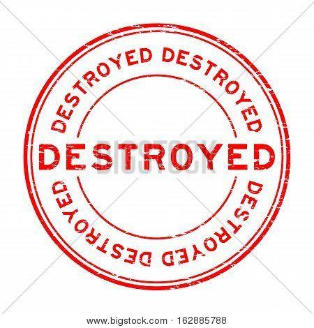 Grunge red destroy round shape rubber stamp