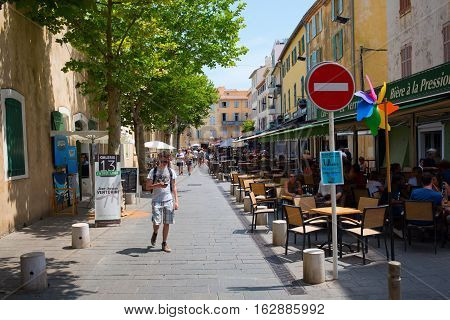 Road With Restaurants In Antibes, South France