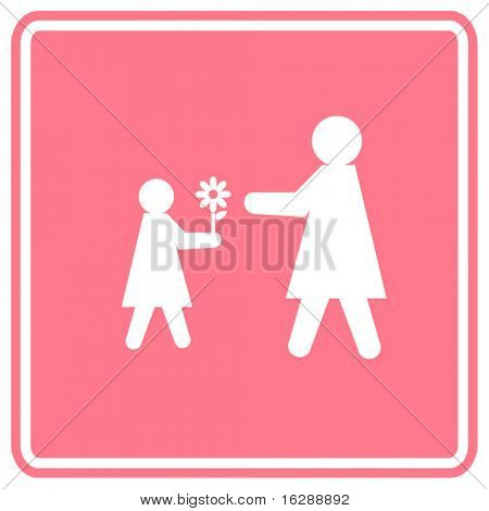 child giving a flower to her mother sign