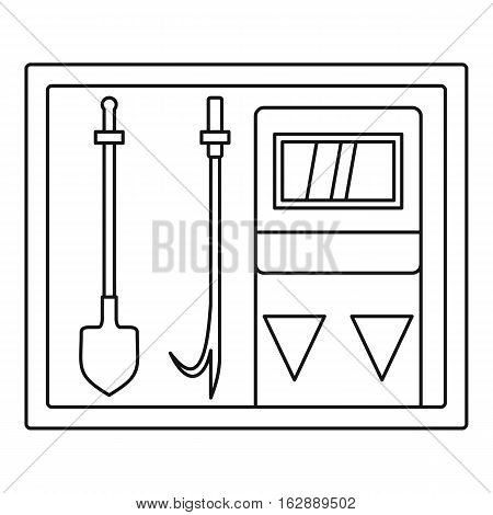 Outline illustration of fire extinguishing equipment vector icon for web