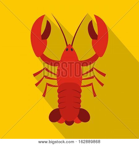 Flat illustration of red crayfish vector icon for web isolated on yellow background
