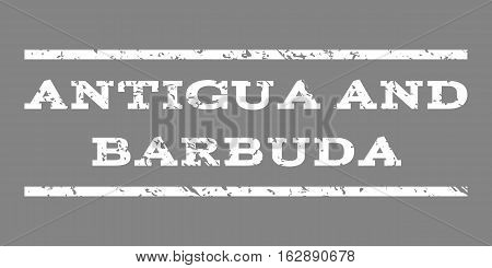 Antigua and Barbuda watermark stamp. Text tag between horizontal parallel lines with grunge design style. Rubber seal stamp with scratched texture. Vector white color ink imprint on a gray background.