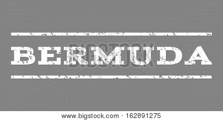Bermuda watermark stamp. Text tag between horizontal parallel lines with grunge design style. Rubber seal stamp with dust texture. Vector white color ink imprint on a gray background.