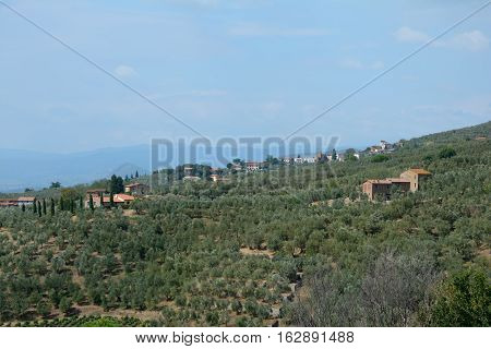 Tuscany landscape nearby Vinci city where Leonardo Da Vinci was born in Tuscany Italy