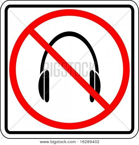 headphones prohibited sign