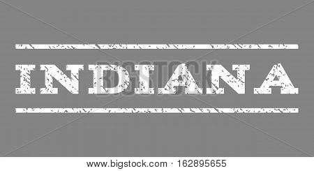 Indiana watermark stamp. Text tag between horizontal parallel lines with grunge design style. Rubber seal stamp with dirty texture. Vector white color ink imprint on a gray background.