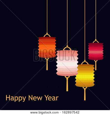 Vector illustration of Chineese Lanters decoration colorful fun set