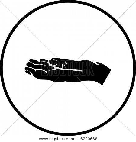 Bettelei oder betteln Hand-symbol