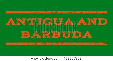 Antigua and Barbuda watermark stamp. Text caption between horizontal parallel lines with grunge design style. Rubber seal stamp with unclean texture.