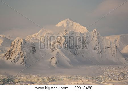 Mount Shackleton on the west coast of the Antarctic Peninsula winter's day