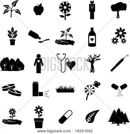 plants and medicine symbol set