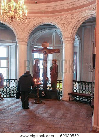 Gatchina, Russia - 3 December, The man in the church, 3 December, 2016. Visit the Museum Reserve Gatchina Palace.