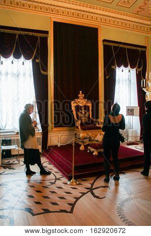 Gatchina, Russia - 3 December, Visitors to the throne room, 3 December, 2016. Visit the Museum Reserve Gatchina Palace.