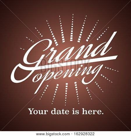 Grand opening vector illustration background. Template nonstandard banner design element for store opening event new shop coming soon
