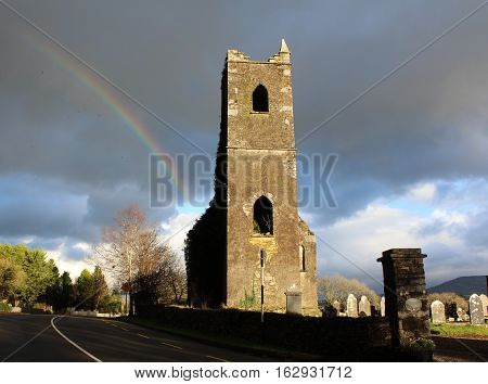 Killowen Church and Graveyard - Ring of Kerry, Ireland. Rainbow.