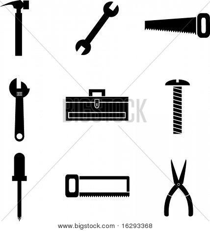 tools and hardware mini symbols set
