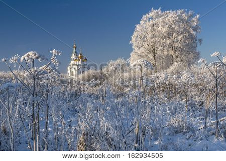 Orthodox Church with golden cupolas and hoar frosted bushes in cold winter day