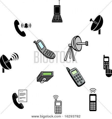 cell phone communications illustrations and symbols set