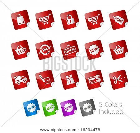 Shopping Icons // Stickers Series -------It includes 5 color versions for each icon in different layers ---------