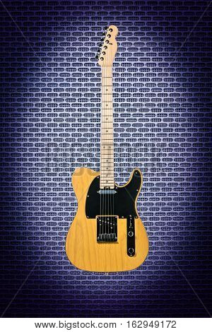 Beautiful wooden electric guitar on a blue abstract techno background