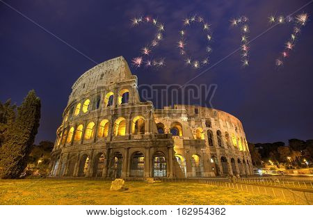 2017 Firework Colosseum In Rome, Italy During Sunset