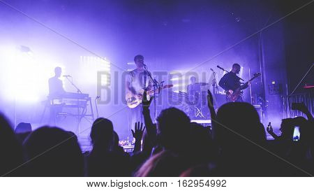ZAGREB, CROATIA - NOVEMBER 8TH: BRITISH INDIE BAND WHITE LIES PERFORMING AT TVORNICA KULTURE ON NOVEMBER 8TH, 2016 IN ZAGREB, CROATIA