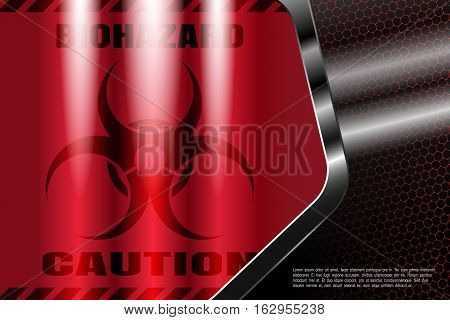 Vector metal background with gradient red cloth and biohazard sign in the metal frame with radiance and mesh pattern.