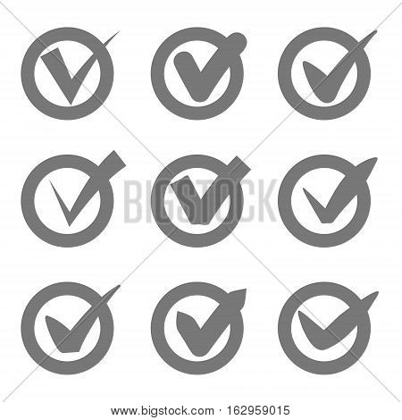 Check mark icons. Grey tick check marks in circles. Vector illustration