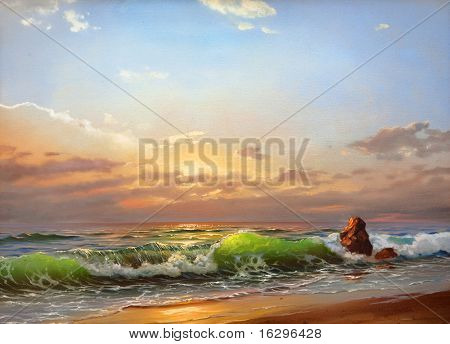 Sea landscape on a sunset