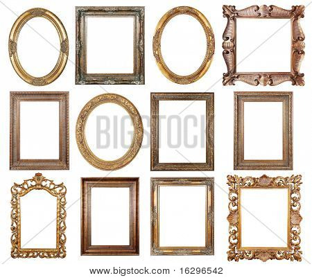 Picture gold frames with a decorative pattern