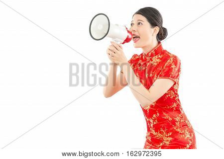 Girl In Red Cheongsam Holding Loud Speaker