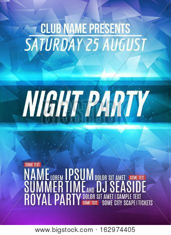 Modern Club Music Party Template, Night Dance Party Flyer, brochure. Night Party Club sound Banner Poster.