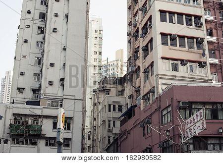 Hong Kong, China - November 10, 2014 Old multi-storey building