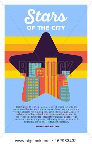 Vector Creative Colorful Illustration Of Modern Bright Big City Within Star Shape With Header Stars