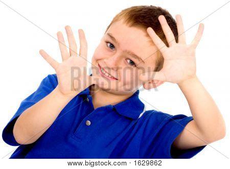 Cute Boy Doing Framing His Face