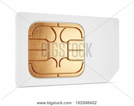 White Sim Card 3D Isolated
