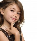 stock photo of little girls  - Little girl thinking and planning - JPG