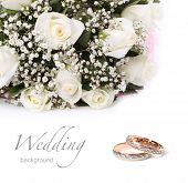 image of white roses  - wedding rings and roses bouquet - JPG