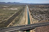 picture of piestewa  - Aerial of Arizona Canal running under State Route 51 - JPG