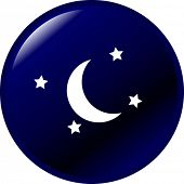 image of wane  - moon and stars button - JPG