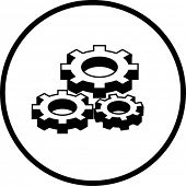 simplified illustration of three gears to be used as a sign or symbol