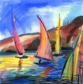Sailing boats in the sea