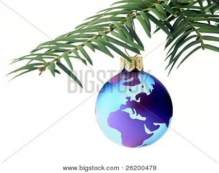 Christmas ball with globe map 1102_03b