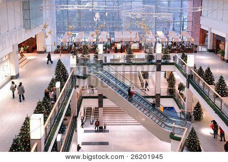 Shopping mall interior with christmas decorations
