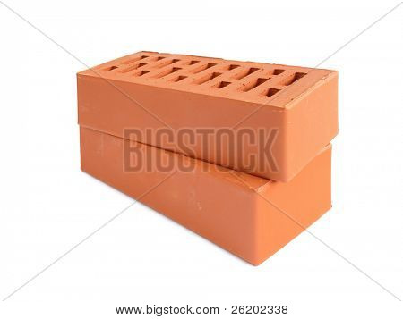 Two perforated bricks over white background