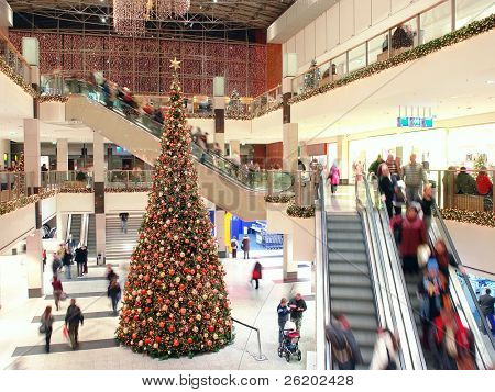 Giant Christmas tree in shopping mall