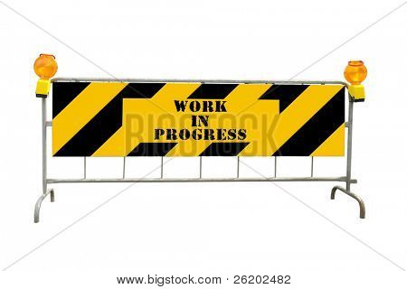 Black and yellow striped road construction barrier with warning beacons and Work in Progress text - isolated on white