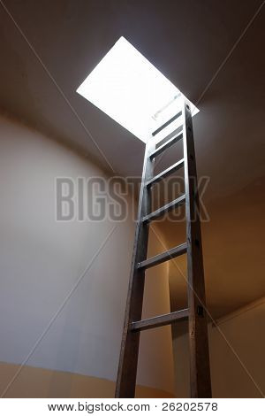 Metal ladder leading to roof access