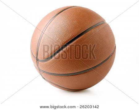 Studio shot of orange basketball over white background